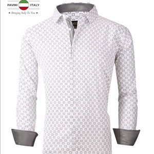 Men's White Silver Pavini Long Sleeve Button Up